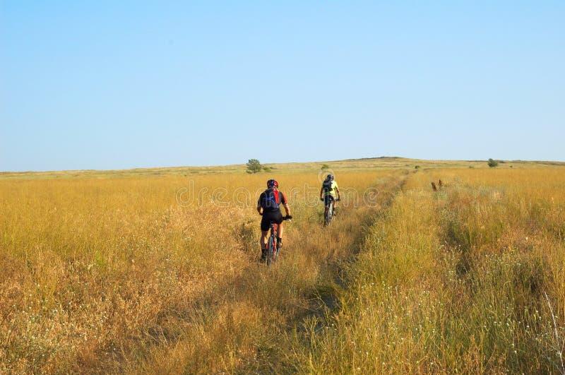 Touriste de deux vélos sur la route rurale image stock