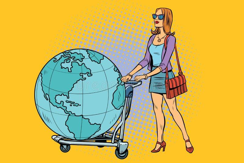 Touriste de femme avec un chariot de bagage avec la terre de planète illustration libre de droits
