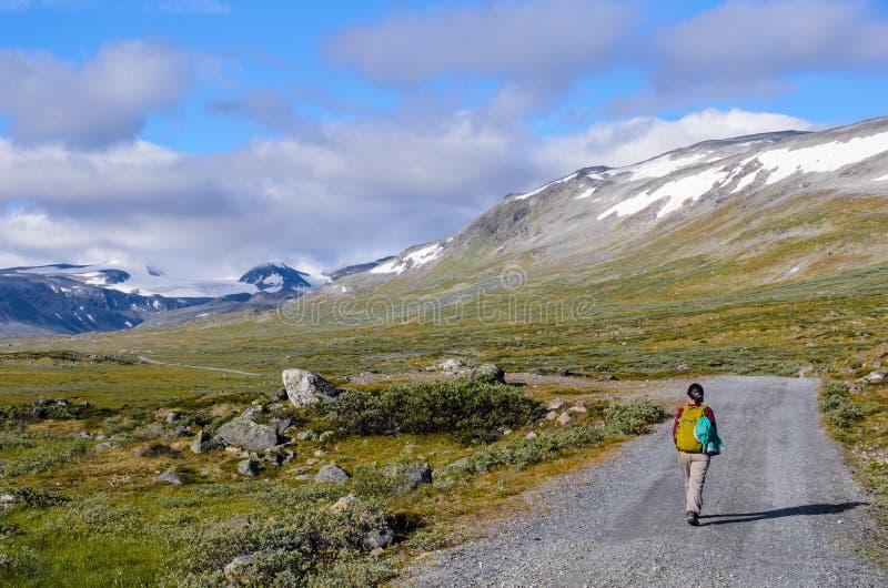 Touriste en parc national de Jotunheimen images stock