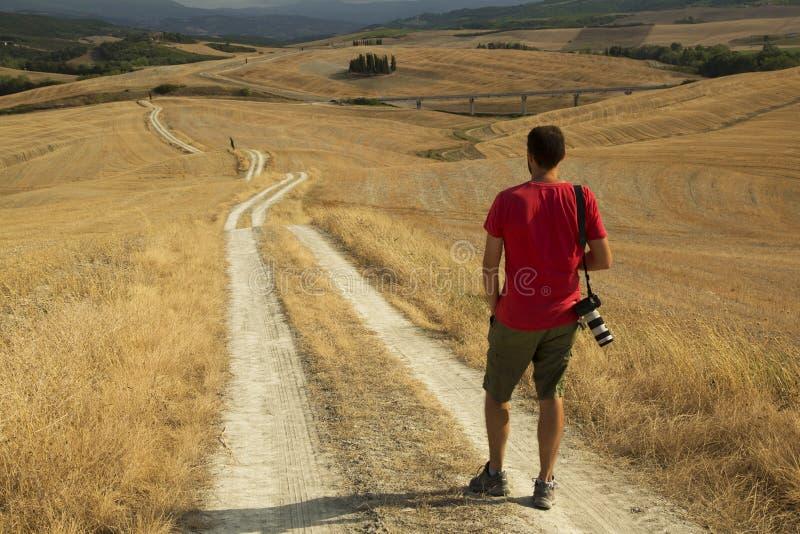 Touriste en Toscane photo stock