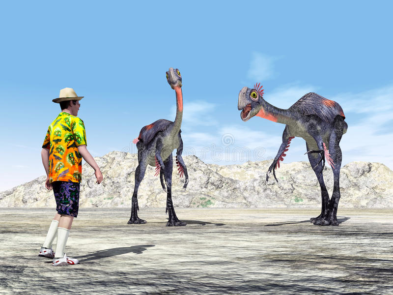 Touriste et le dinosaure Gigantoraptor illustration libre de droits