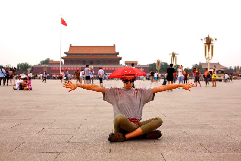 Touriste féminin chez Pékin, Chine photographie stock