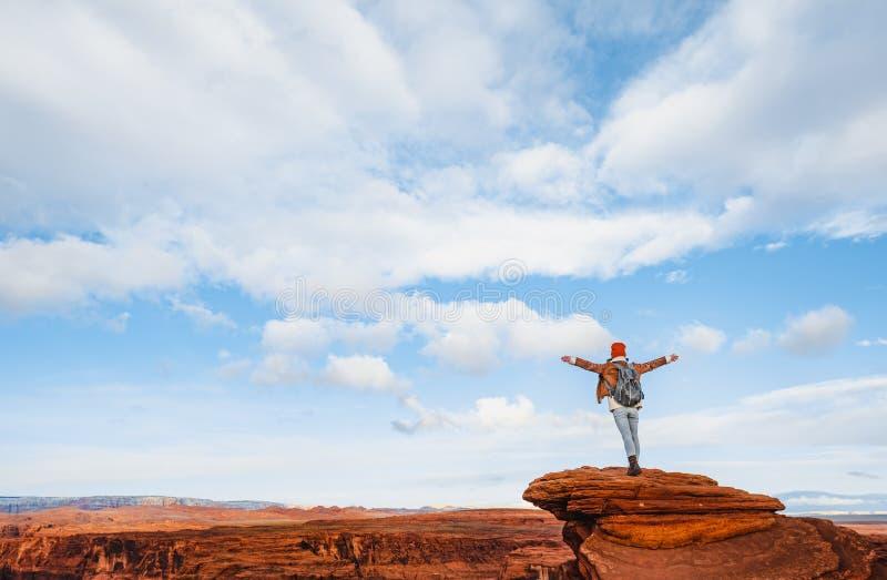 Touriste heureux au Glen Canyon photo stock