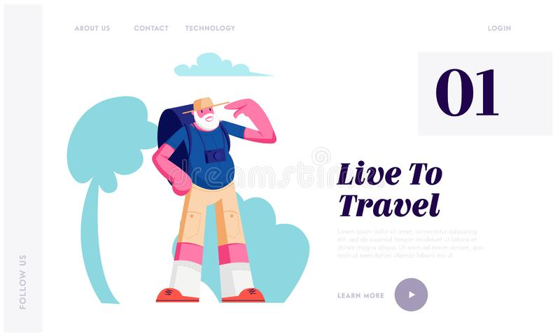 Touriste supérieur avec le sac à dos dans le voyage de ville, homme de déplacement plus âgé avec le voyage de caméra de photo à l illustration stock