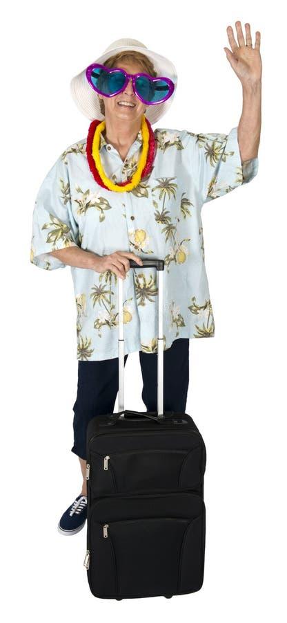 Touriste supérieure mûre drôle de femme, voyage, isolat images stock