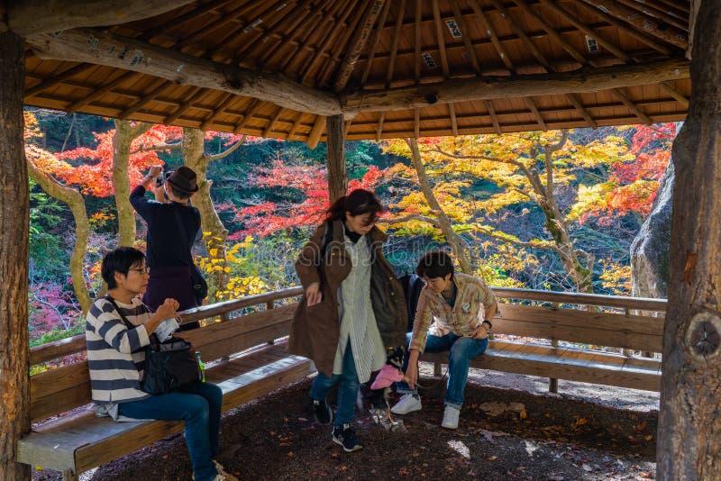 Touristen, die eine Pause im hölzernen pavillion machen lizenzfreies stockfoto