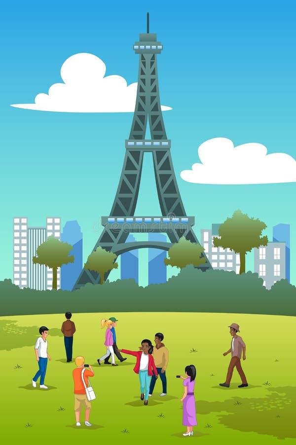 Touristen in Eiffelturm-Frankreich-Illustration lizenzfreie abbildung