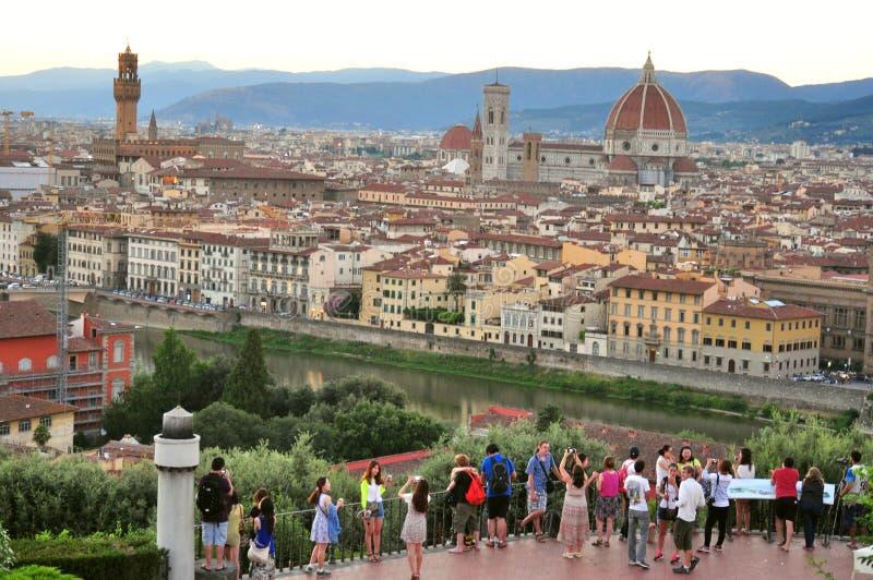 Touristen in Florenz-Stadt, Italien stockbilder