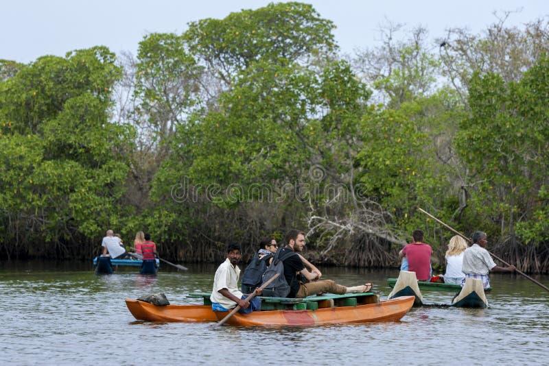 Touristen genießen eine Paddelbootsfahrt des späten Nachmittages auf die Pottuvil-Lagune auf der Ostküste von Sri Lanka lizenzfreie stockfotos