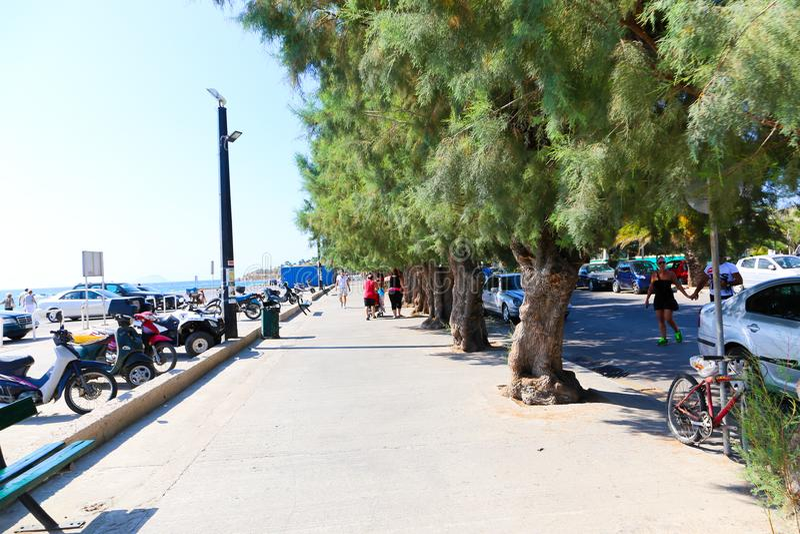 Touristen in Hydra-Insel, Griechenland stockbild