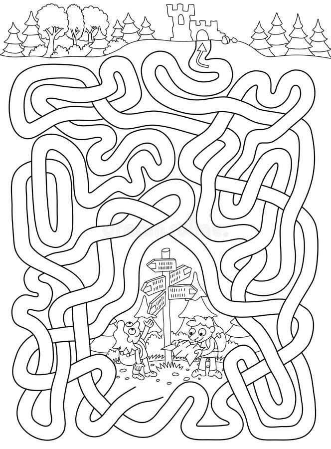 Touristen - Labyrinth für Kinder stock abbildung