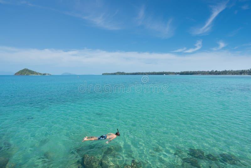 Touristen schnorcheln im Kristalltürkiswasser nahe tropischem Erholungsort lizenzfreie stockbilder