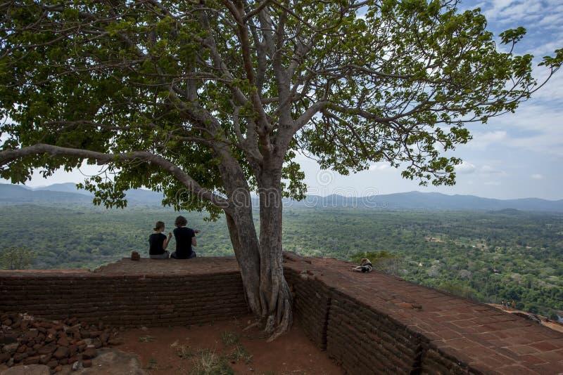 Touristen und ein Hund genießen die Ansicht vom Gipfel von Sigiriya-Felsen in Sigiriya, Sri Lanka stockfotografie