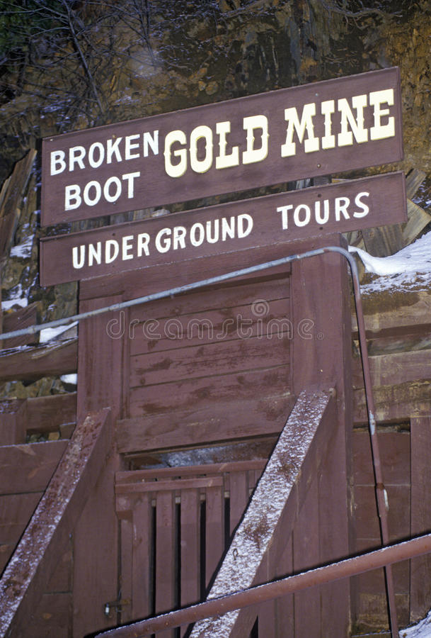 Touristenattraktion der defekten Stiefel-Goldmine im Ballast, Sd lizenzfreie stockfotografie