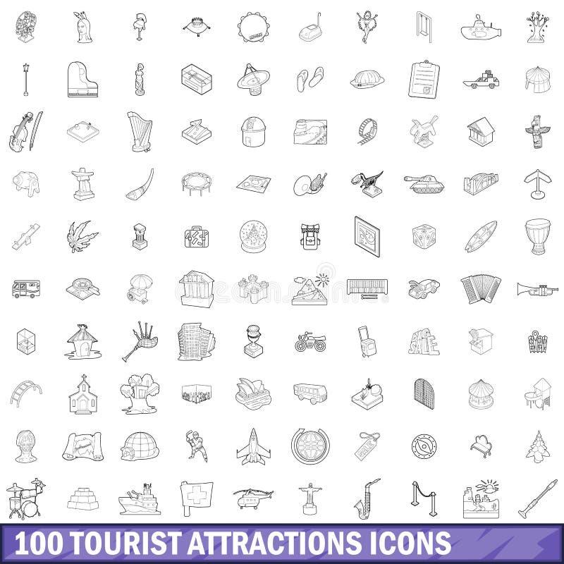 100 Touristenattraktionsikonen eingestellt, Entwurfsart lizenzfreie abbildung