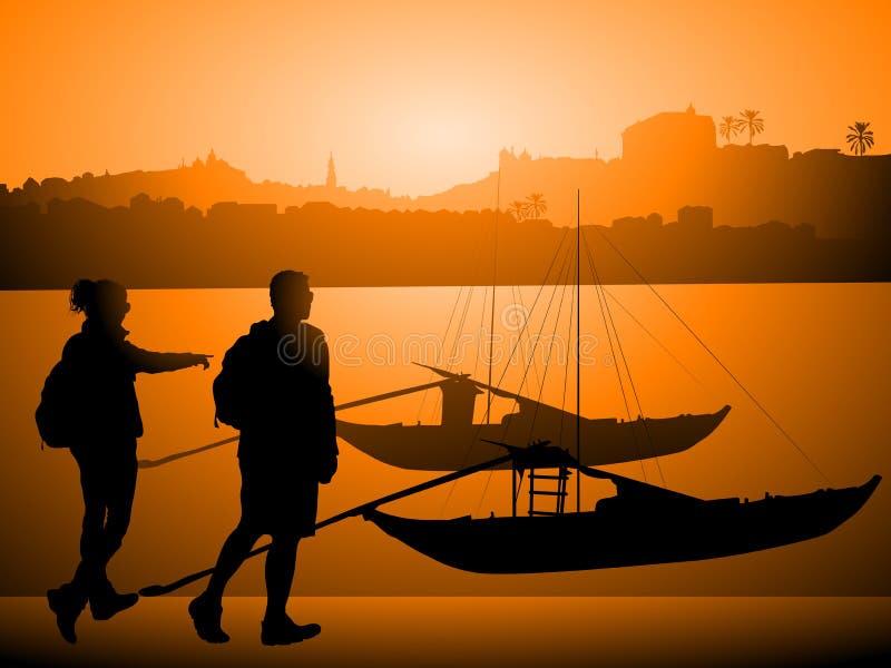 Touristes à Porto Portugal illustration stock