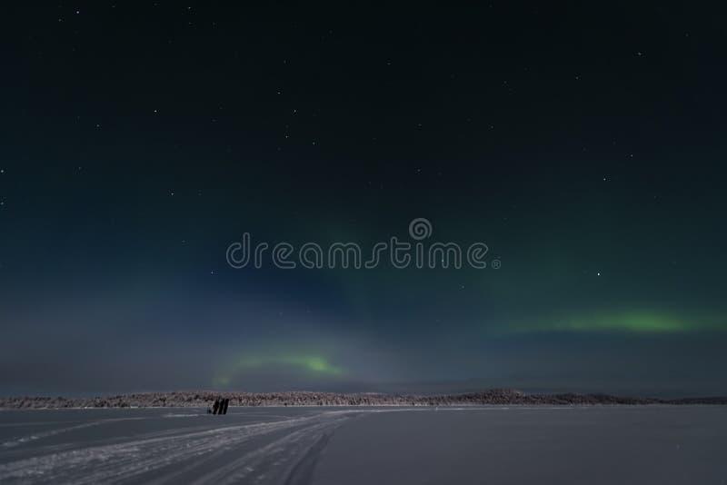 3 touristes adoptent des photgraphs et la position les lumières du nord à travers le lac congelé et vers les forêts photo stock
