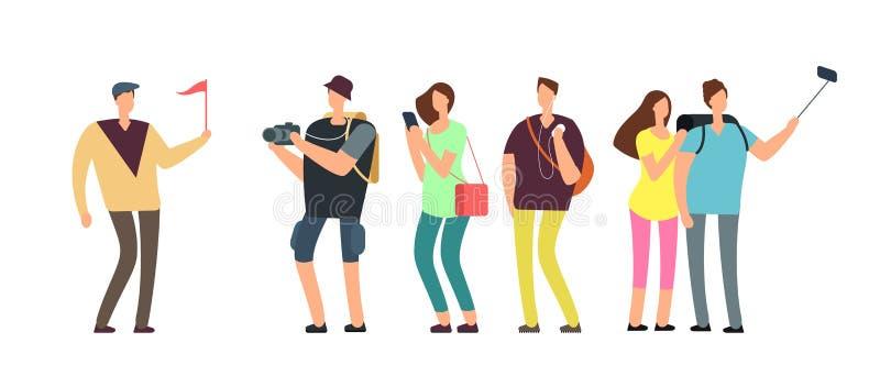Touristes avec le guide en tournée de voyage Les itinérants avec la famille des vacances dirigent le concept illustration stock