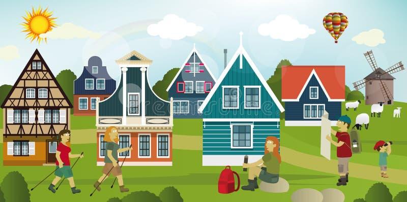 Touristes dans la campagne néerlandaise illustration stock