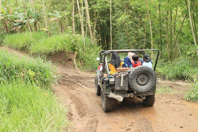 Touristes dans la jeep dans la jungle images stock