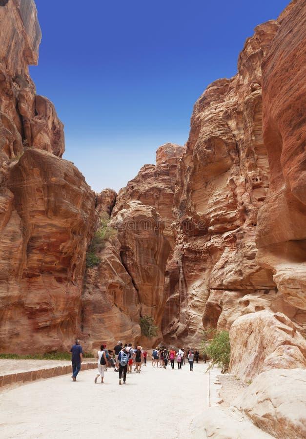Touristes dans le passage étroit des roches du canyon de Siq en Jordanie Voie par la gorge de Siq de lapider PETRA de ville photo libre de droits