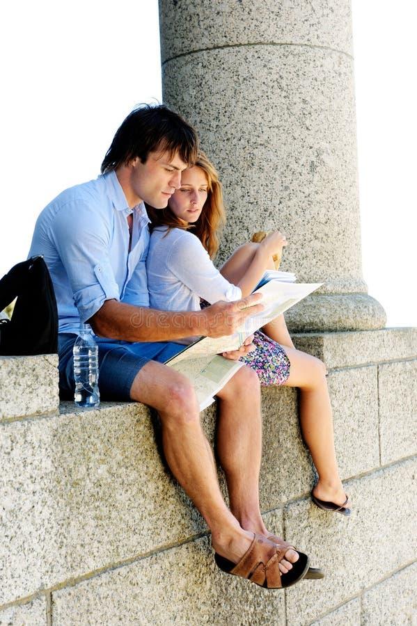 Touristes de sens de carte photo stock