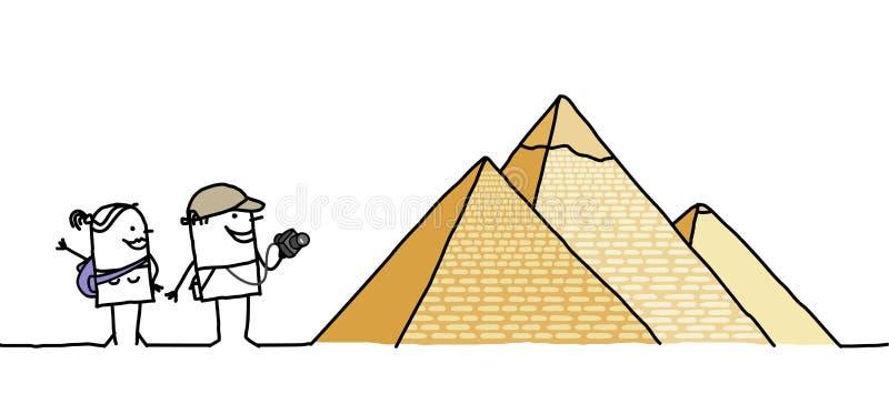 Touristes et pyramides illustration libre de droits