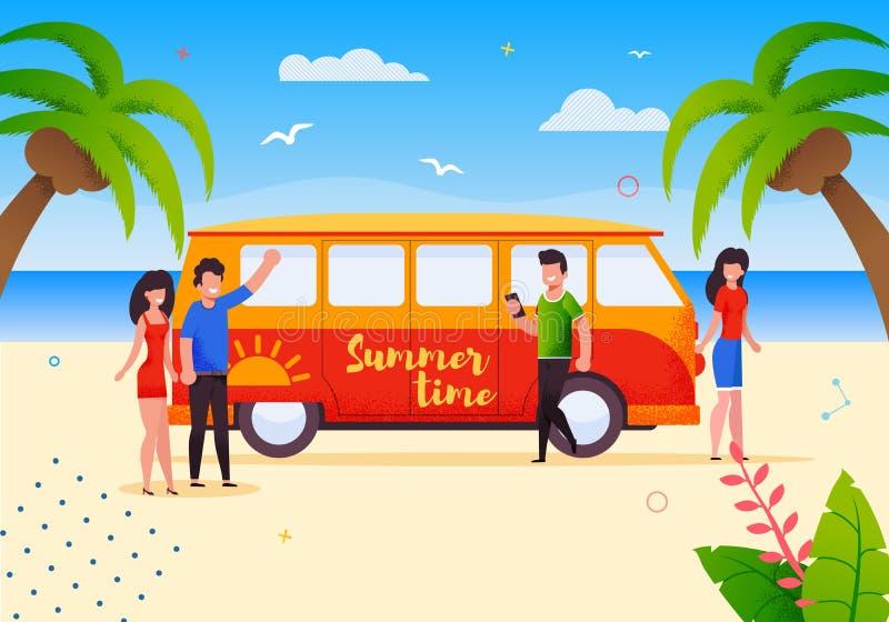 Touristes heureux sur la bande dessinée de vacances de voyage d'autobus d'été illustration de vecteur