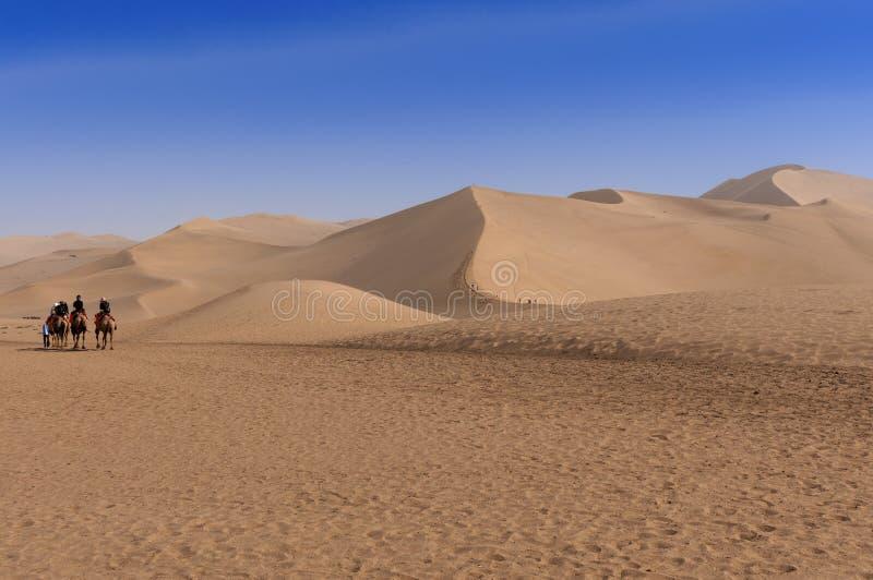 Touristes montant des cammels à la montagne faisante écho de sable près de la ville de Dunhuang, dans la province de Gansu, la Ch photographie stock libre de droits