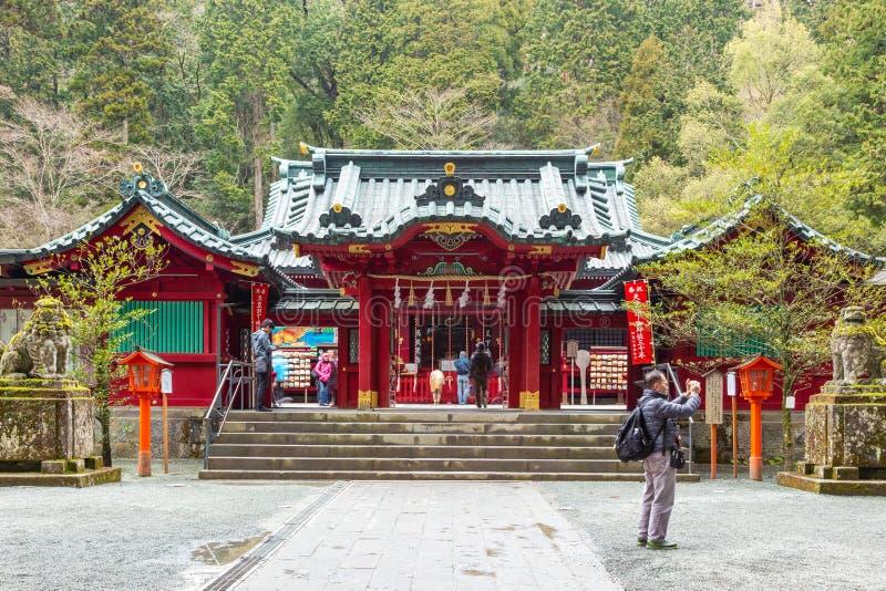 Touristes rendant visite à Ashi Lake Shrine à Hakone, Japon photo stock