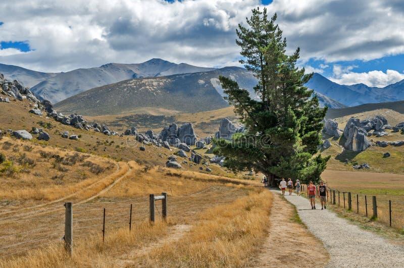 Touristes visitant la colline de château dans les Alpes du sud, le passage d'Arthur, île du sud du Nouvelle-Zélande images libres de droits