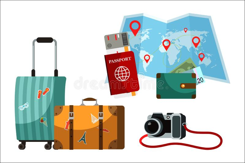 Touristic accessory and attributes set. Suitcase, paper world map, passport, purse, camera. Objects isolated on white. Background royalty free illustration