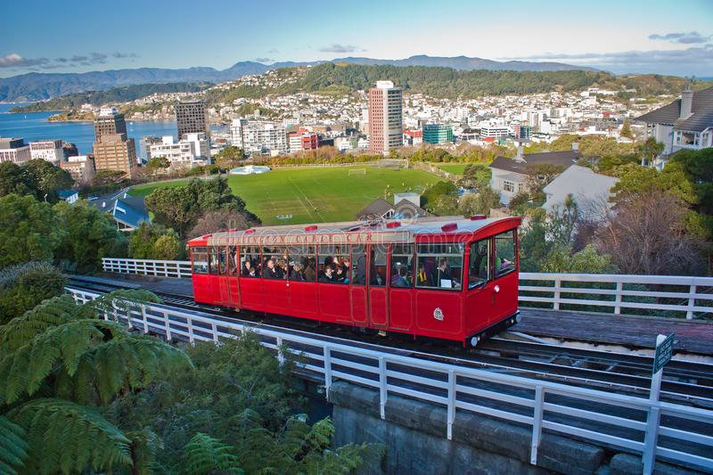 Touristic attraction of red cable car in Wellington, New Zealand. Touristic attraction of red cable car to the top of hill in Wellington, New Zealand, public royalty free stock image