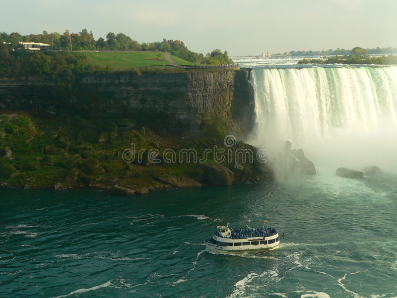 Touristic Boat at Niagara falls II stock photography