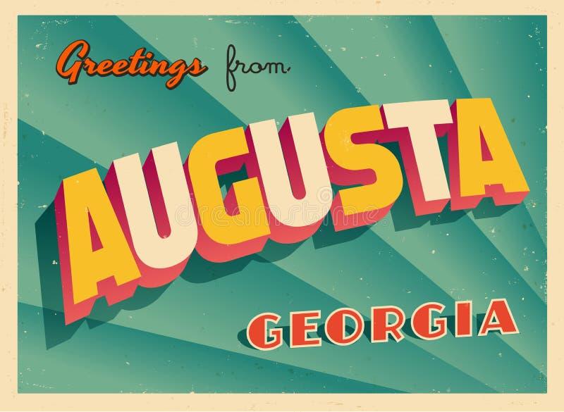 Touristic hälsningkort för tappning från Augusta, Georgia stock illustrationer