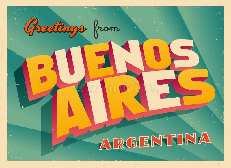 Touristic hälsningkort för tappning från Buenos Aires vektor illustrationer