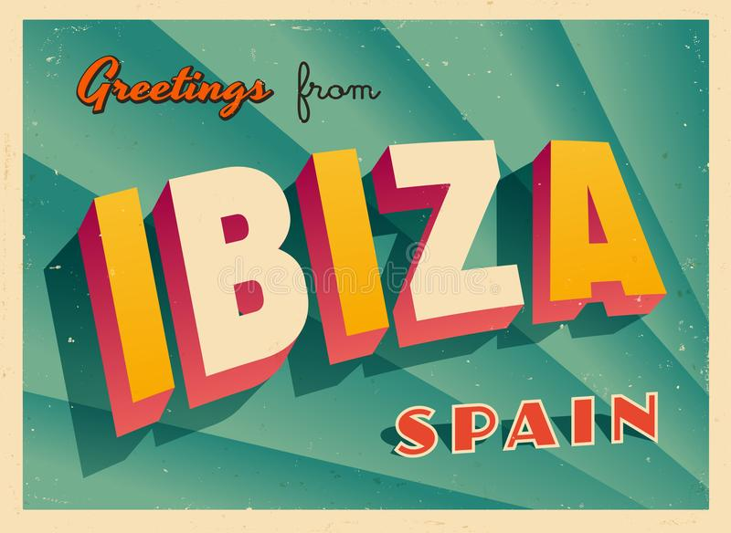 Touristic hälsningkort för tappning från Ibiza stock illustrationer