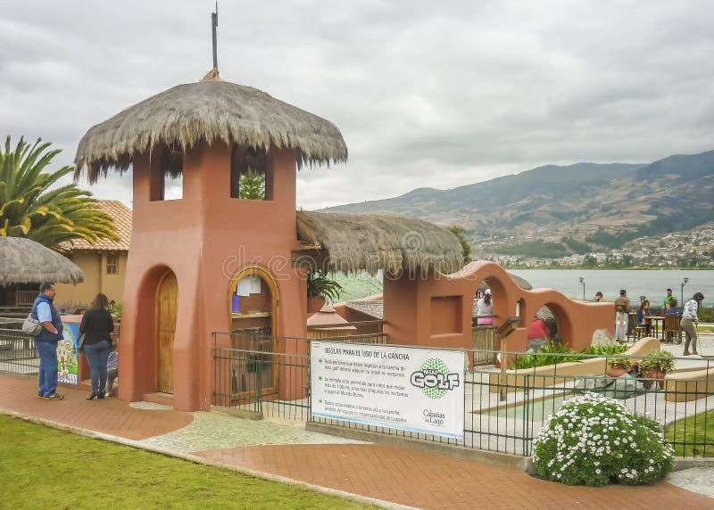 Touristic läge på San Pablo Lake Imbabura Ecuador arkivbild
