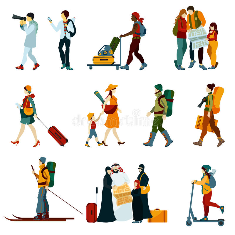 Free Touristic People Set Stock Image - 62602401