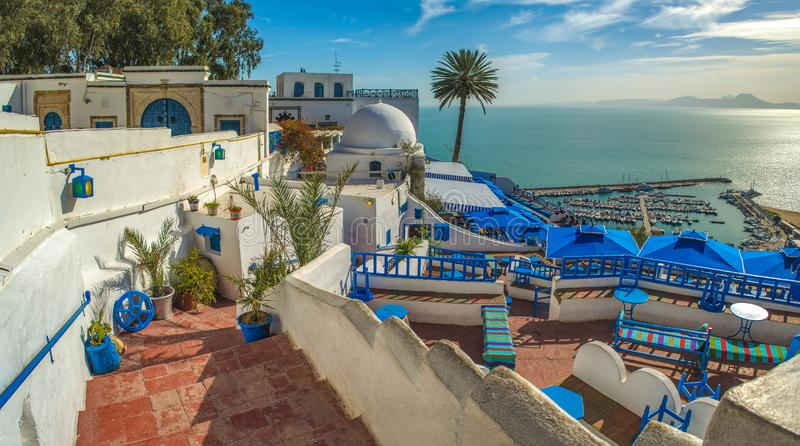 Touristic picturesque village Sidi Bou Said. Famous cafe with beautiful view. Tunisia. The view on beautiful Sidi Bou Said, white and blue touristic village in stock photo