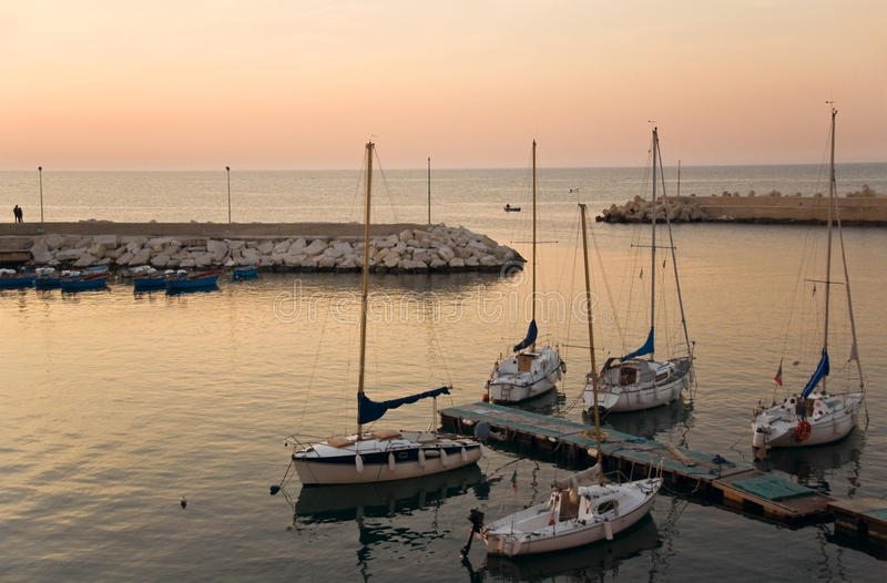Touristic Port Of Giovinazzo At Sunset. Stock Images