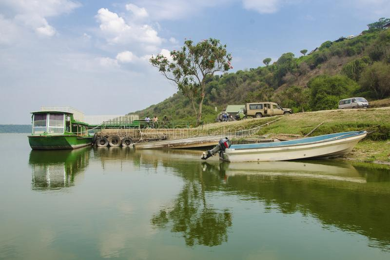 Touristic port on the Kazinga Channel royalty free stock photos
