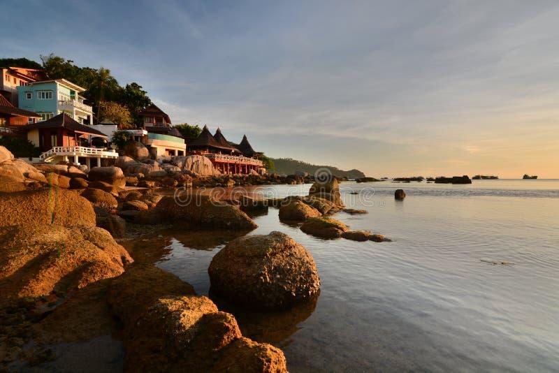 Touristic semesterort nära den Sairee stranden koh tao Surat Thani landskap thailand arkivfoto