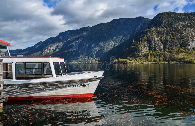 Touristic ship on Hallstatt Lake, Austria. Hallstatt, Austria - Oct 25, 2018. Touristic ship on Hallstatt Lake, Austria. Hallstatt Austria is a charming lakeside stock images