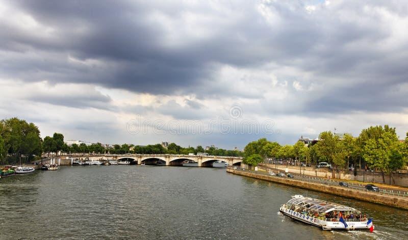Touristic ship on Seine stock photo