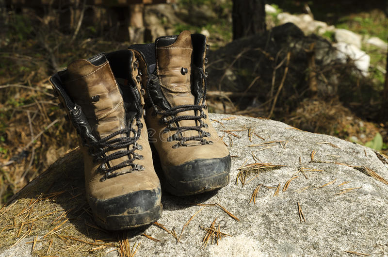 Touristic shoes on a rock and pine needles. Selective focus royalty free stock photography
