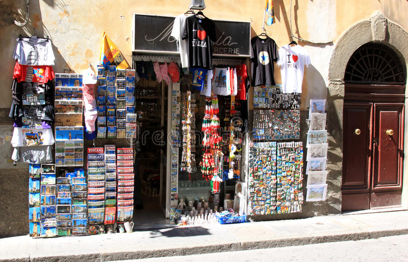 Touristic shop in Pisa, Italy royalty free stock photo