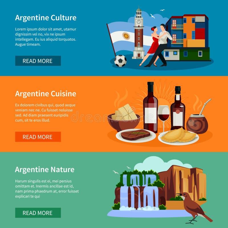 Touristic sida för Website för Argentina lägenhetbaner vektor illustrationer