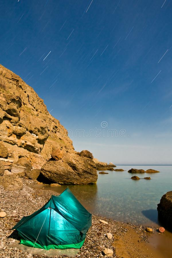 Download Touristic Tent On A Sea Coast Royalty Free Stock Photos - Image: 24723568