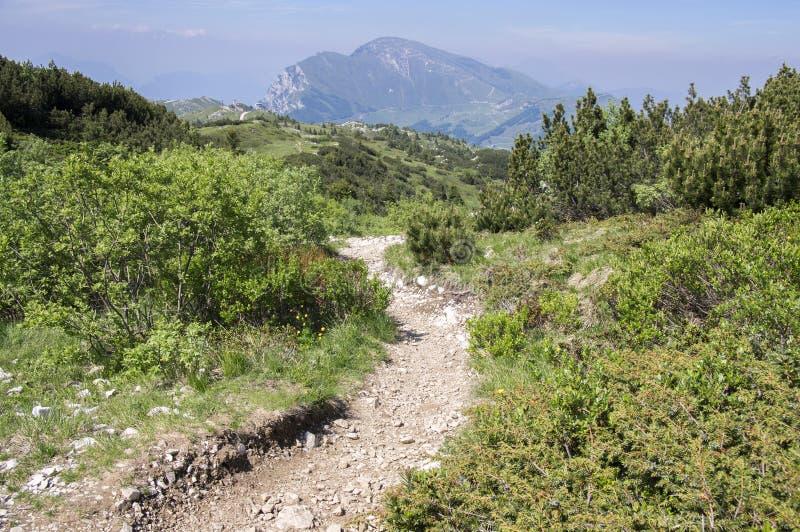 Touristic trail Alta Via del Monte Baldo, ridge way in Garda Mountains. Touristic trail path stock photography